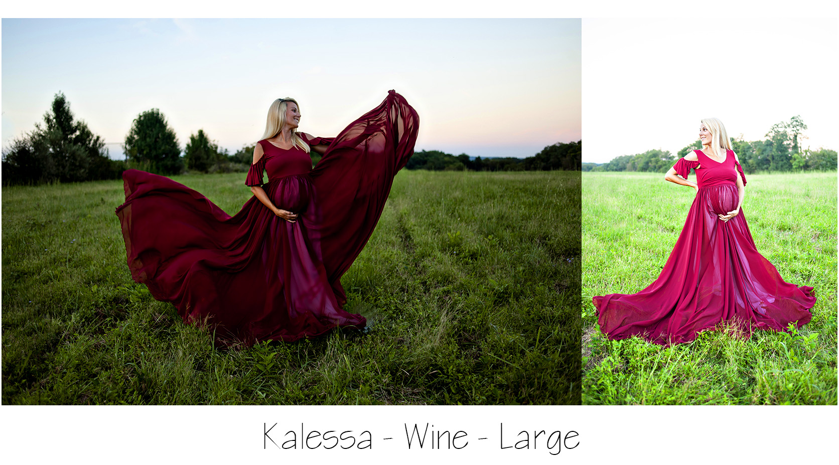 Maternity Photo Session: Wine or Red Maternity Dress with peekaboo flutter sleeves