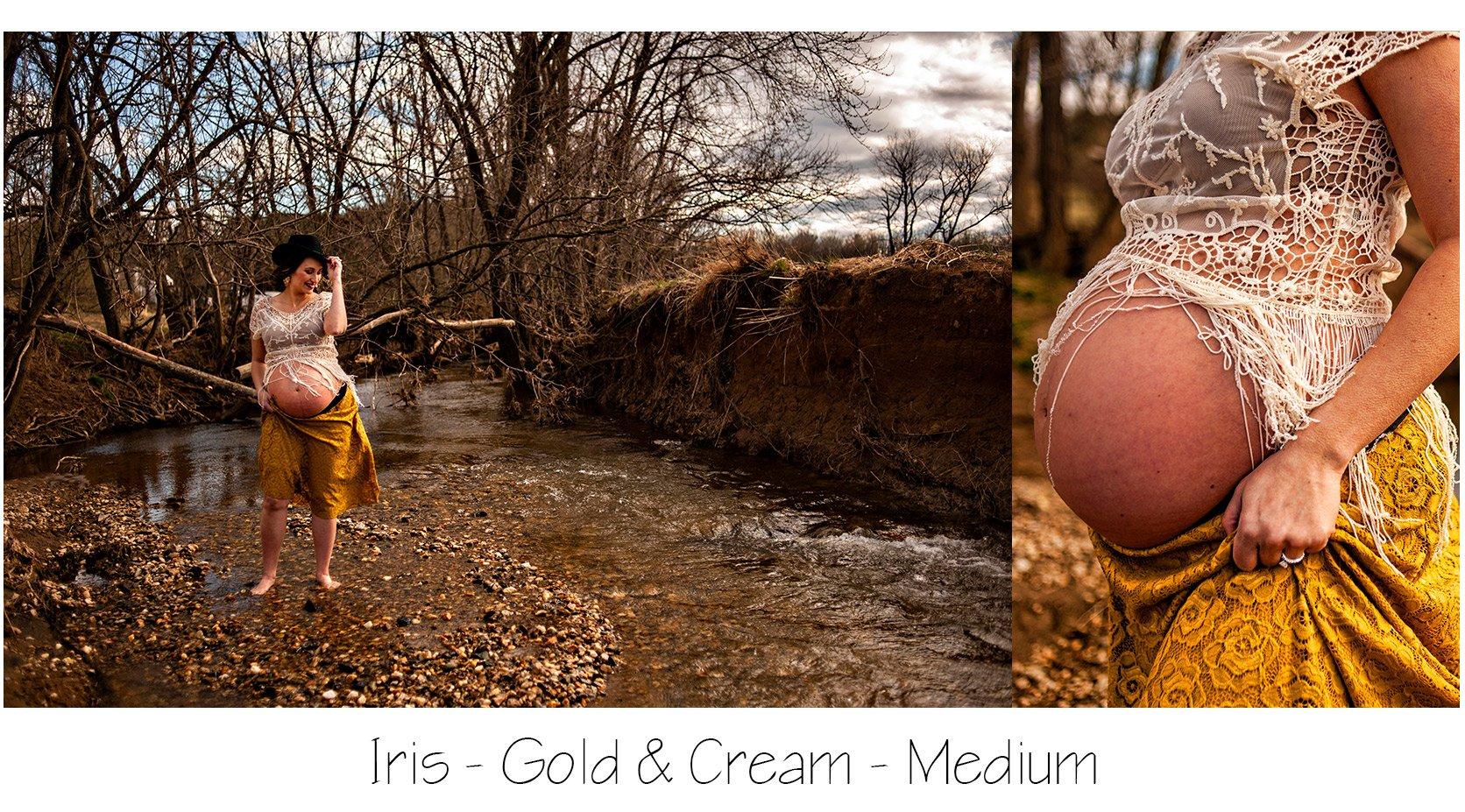 Maternity Photo Session: Gold Lola Skirt, Boho Fringe Top and Black Fedora Hat