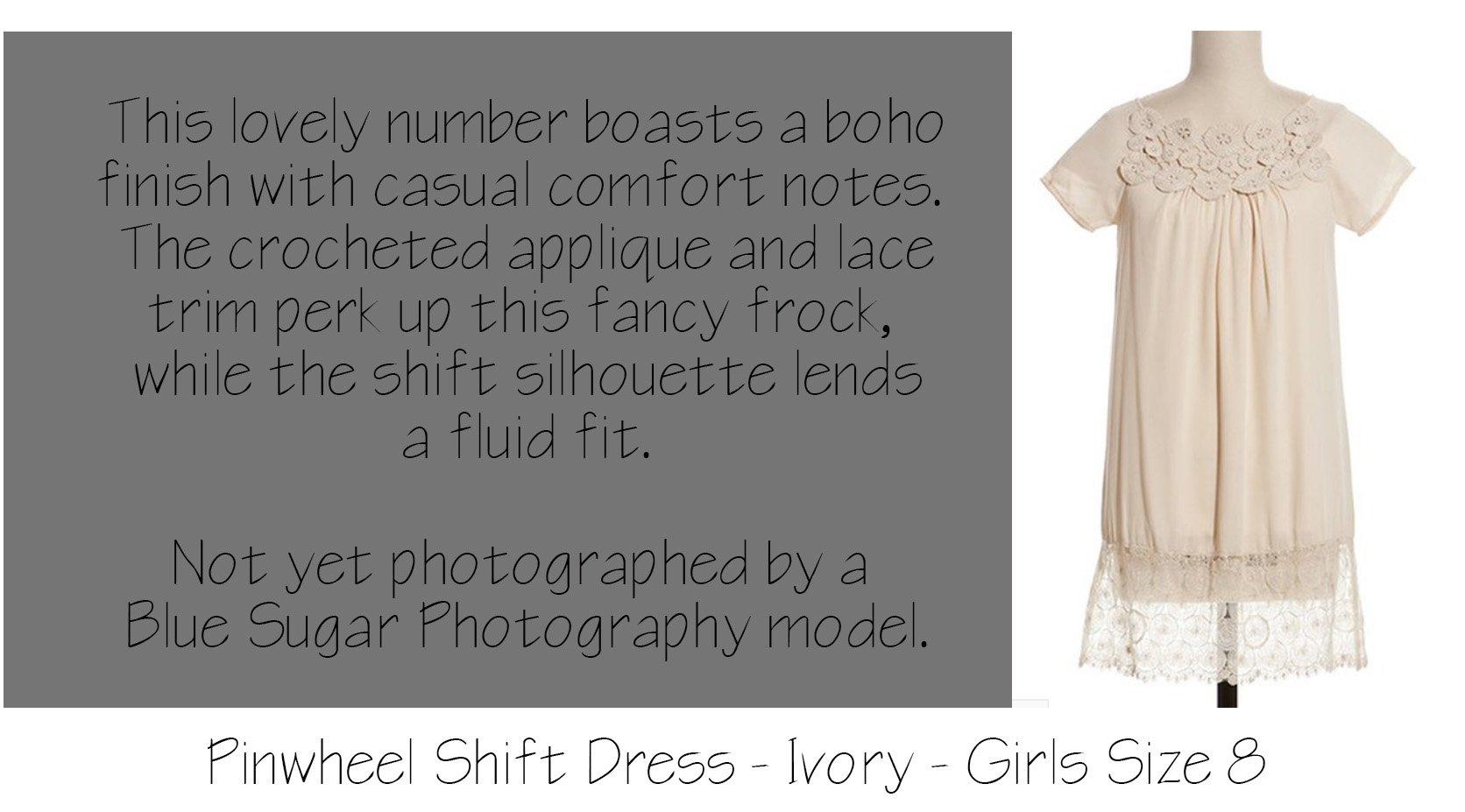 Girls Ivory Pinwheel Crochet Vintage Dress
