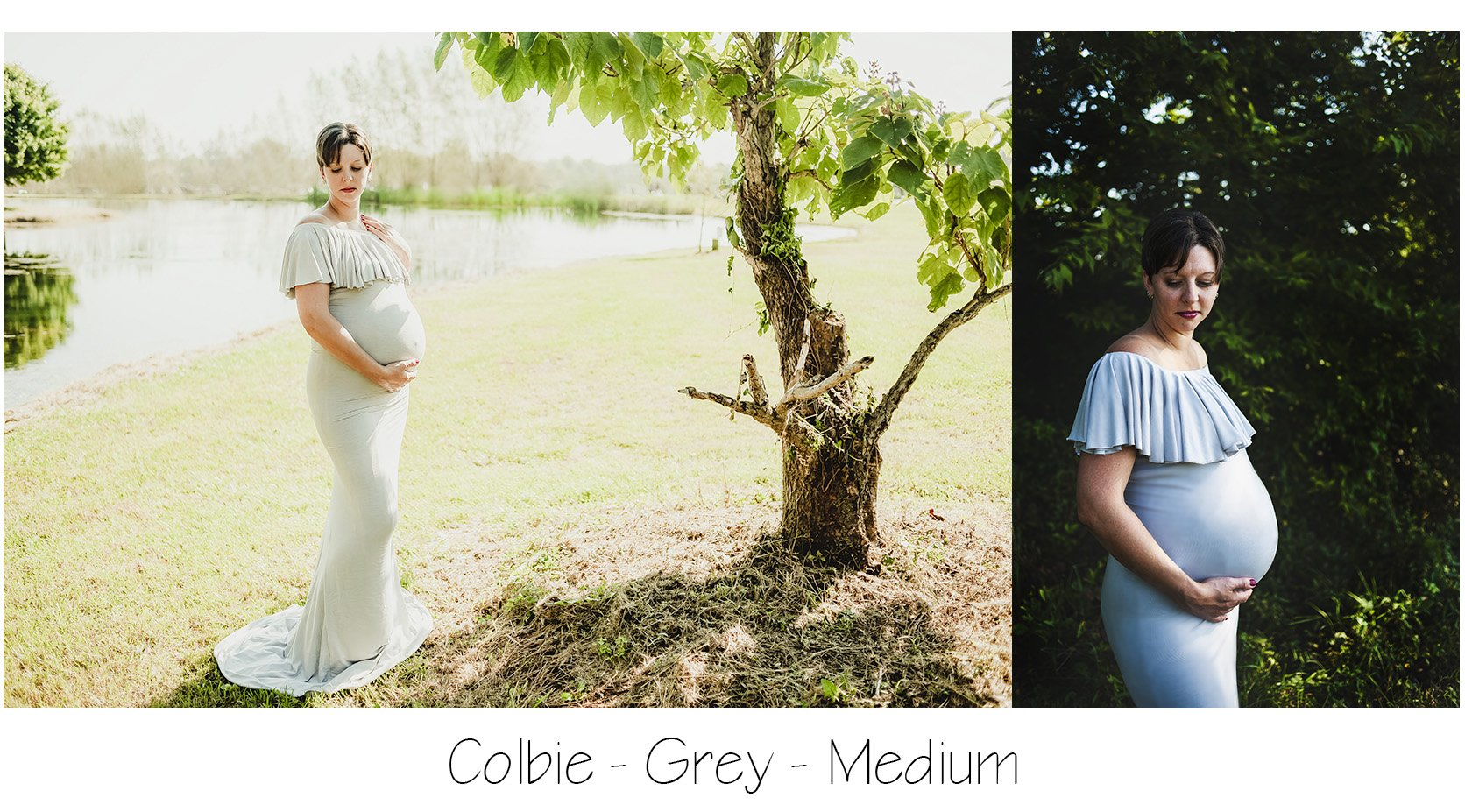 Maternity Photo Session: Grey Flounce Top Maternity Dress