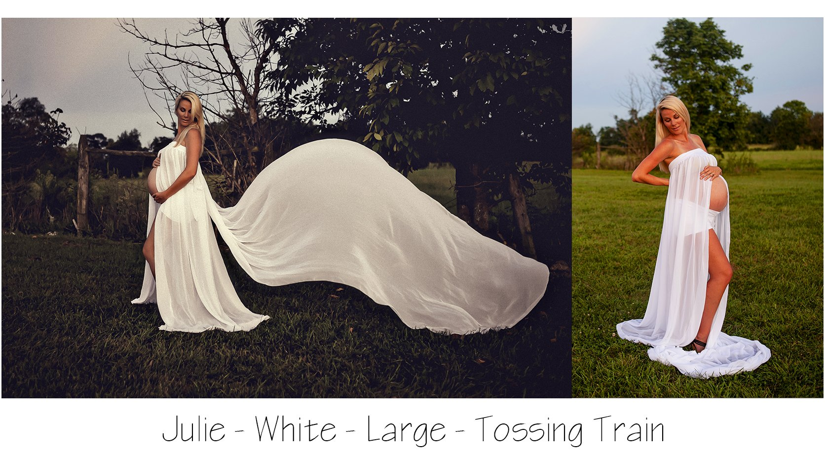 Maternity Photo Session: White Maternity Skirt with tossing train