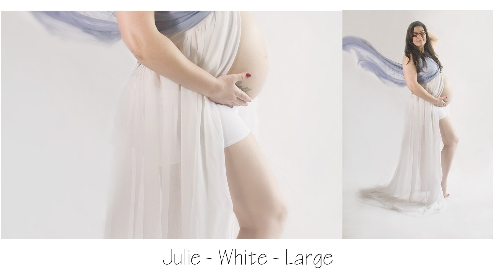 Maternity Photo Session: white maternity skirt with blue scarf