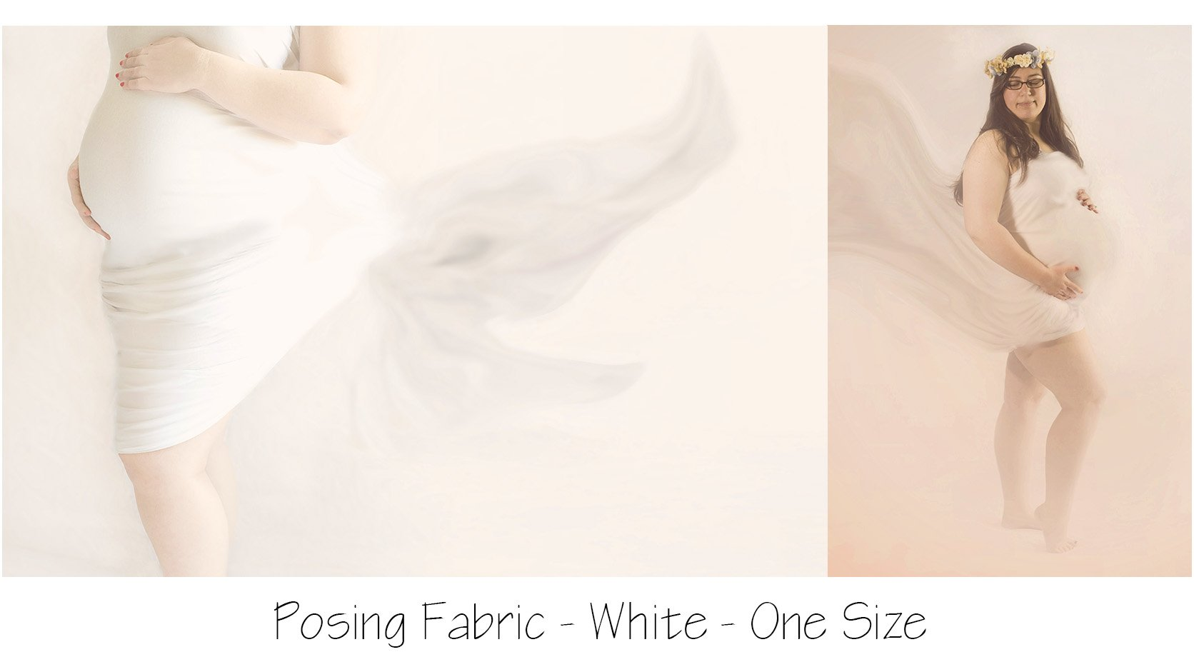 White draping fabric for maternity photos
