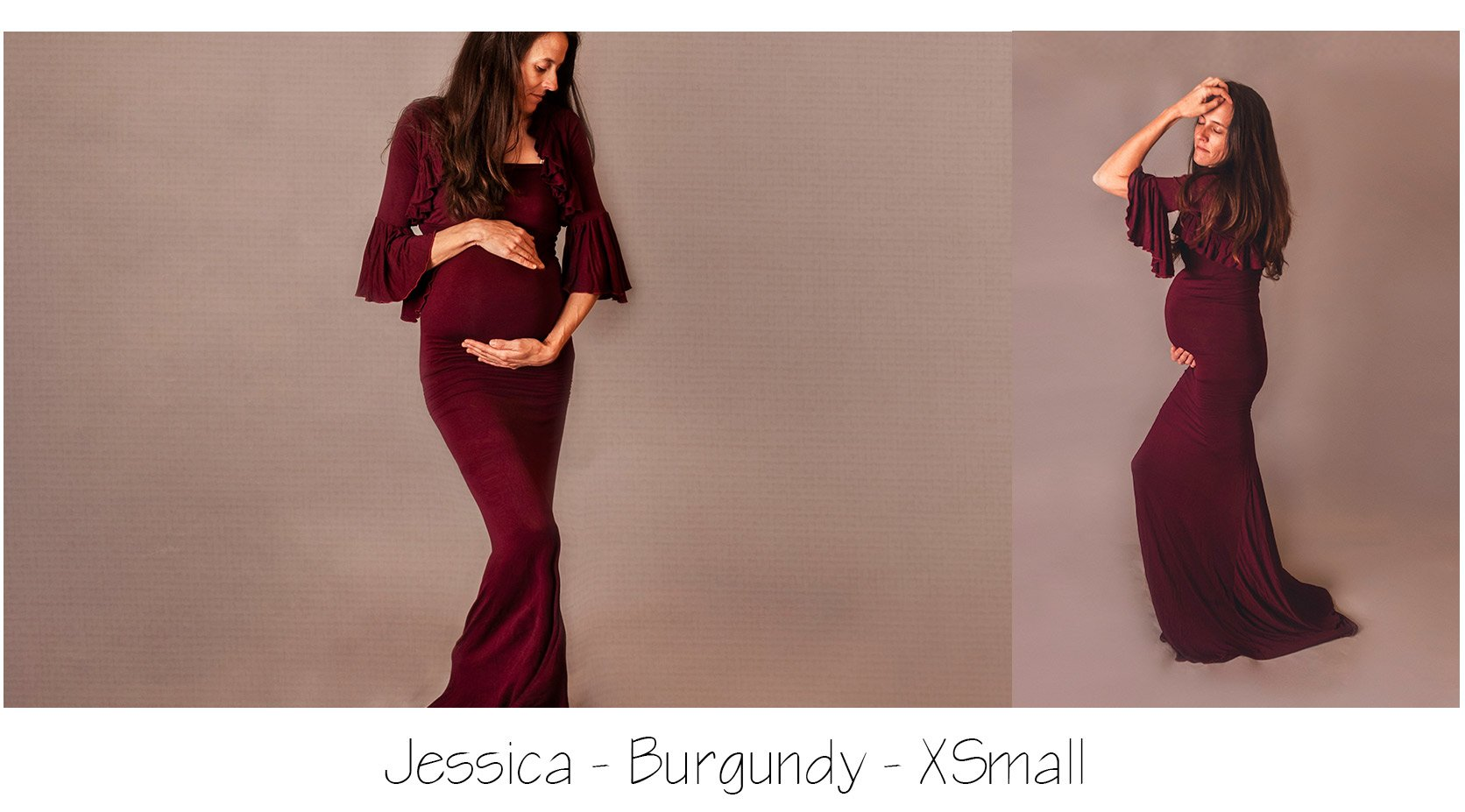 Maternity Photo Session: Red or Burgundy Maternity Dress with ruffle sleeve bolero