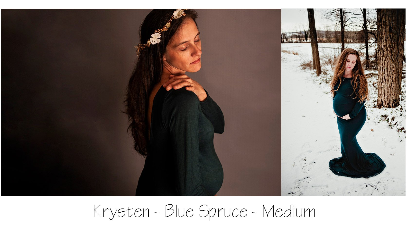 Maternity Photo Session: Blue Spruce Krysten Gown, long sleeve Maternity Gown with low back