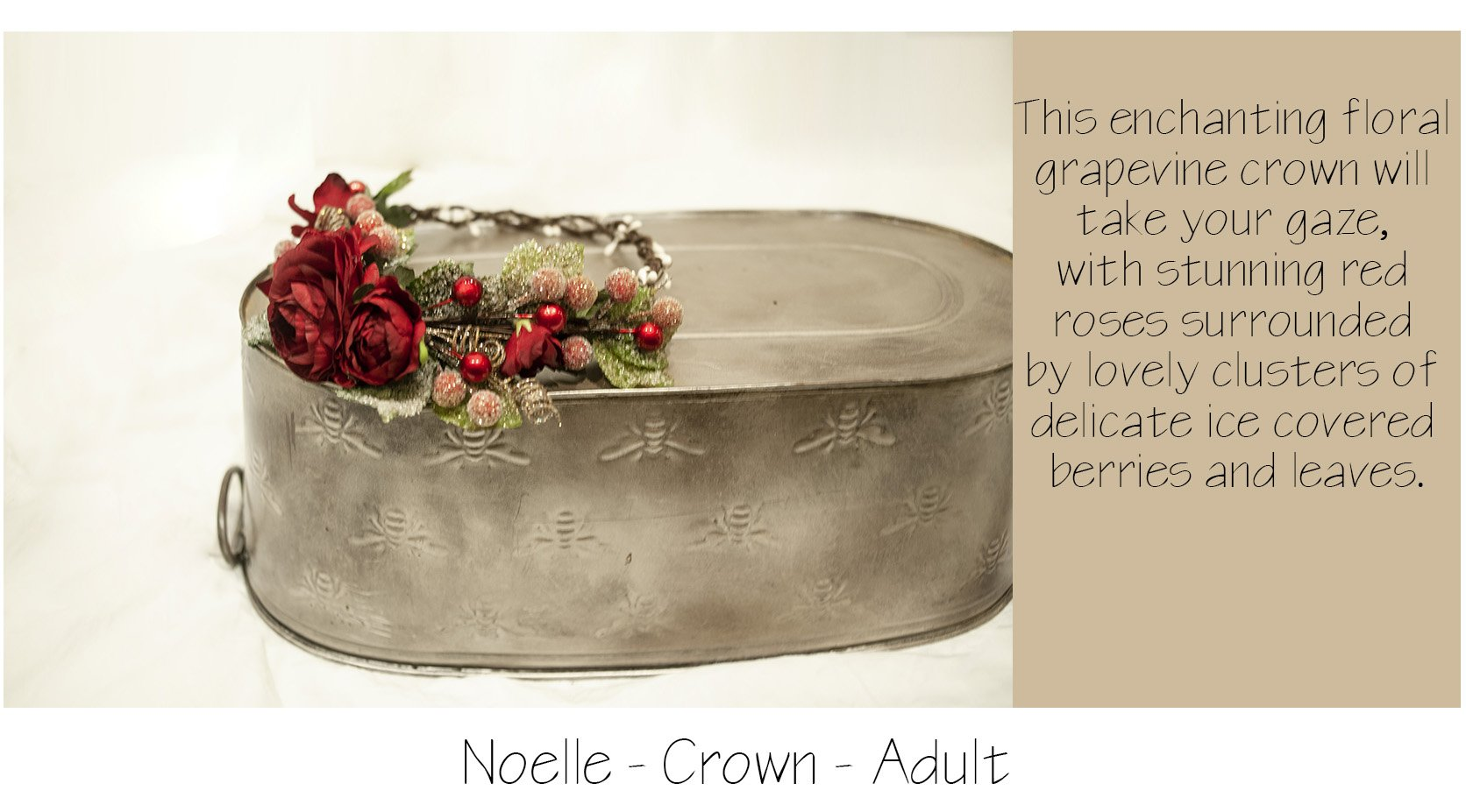 noelle floral crown with red roses and frosted berries