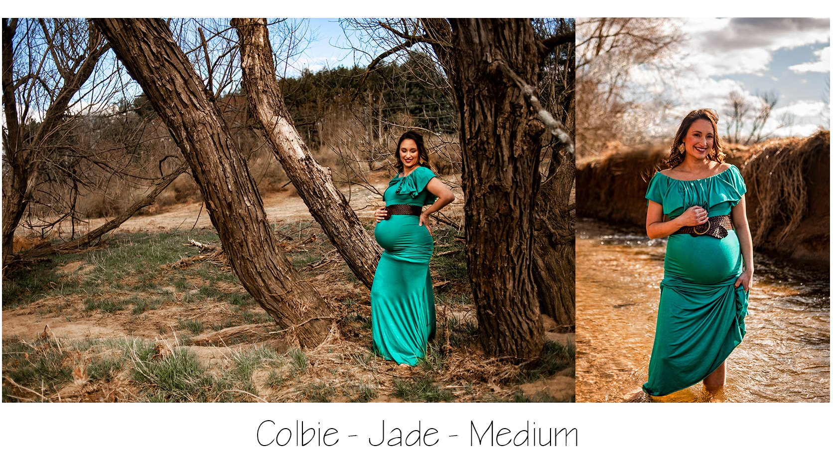 Maternity Photo Session: Jade/Teal Flounce Top Maternity Dress Maternity Gown