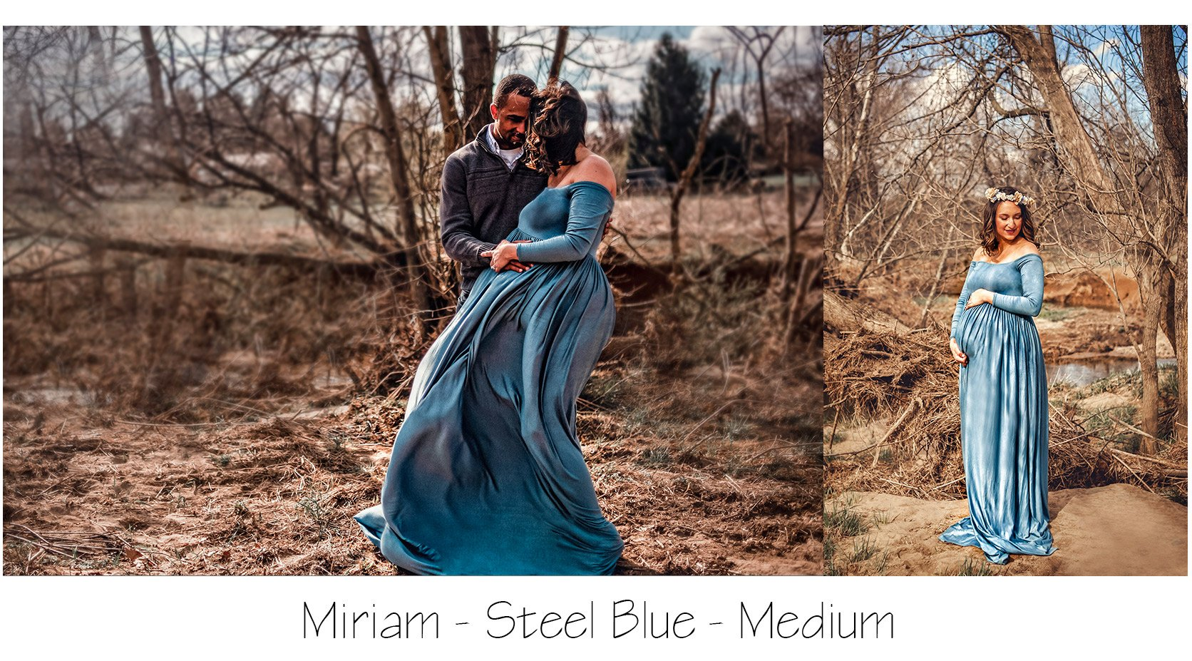 Maternity Photo Session: Steel Blue Miriam Gown, blue maternity dress