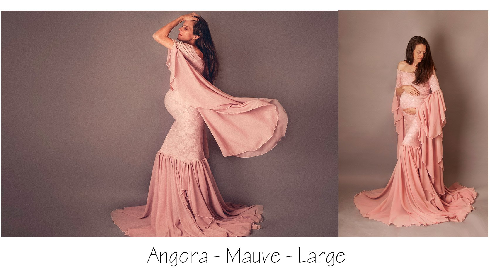 image of pregnant woman in mauve angora gown by sew trendy accessories