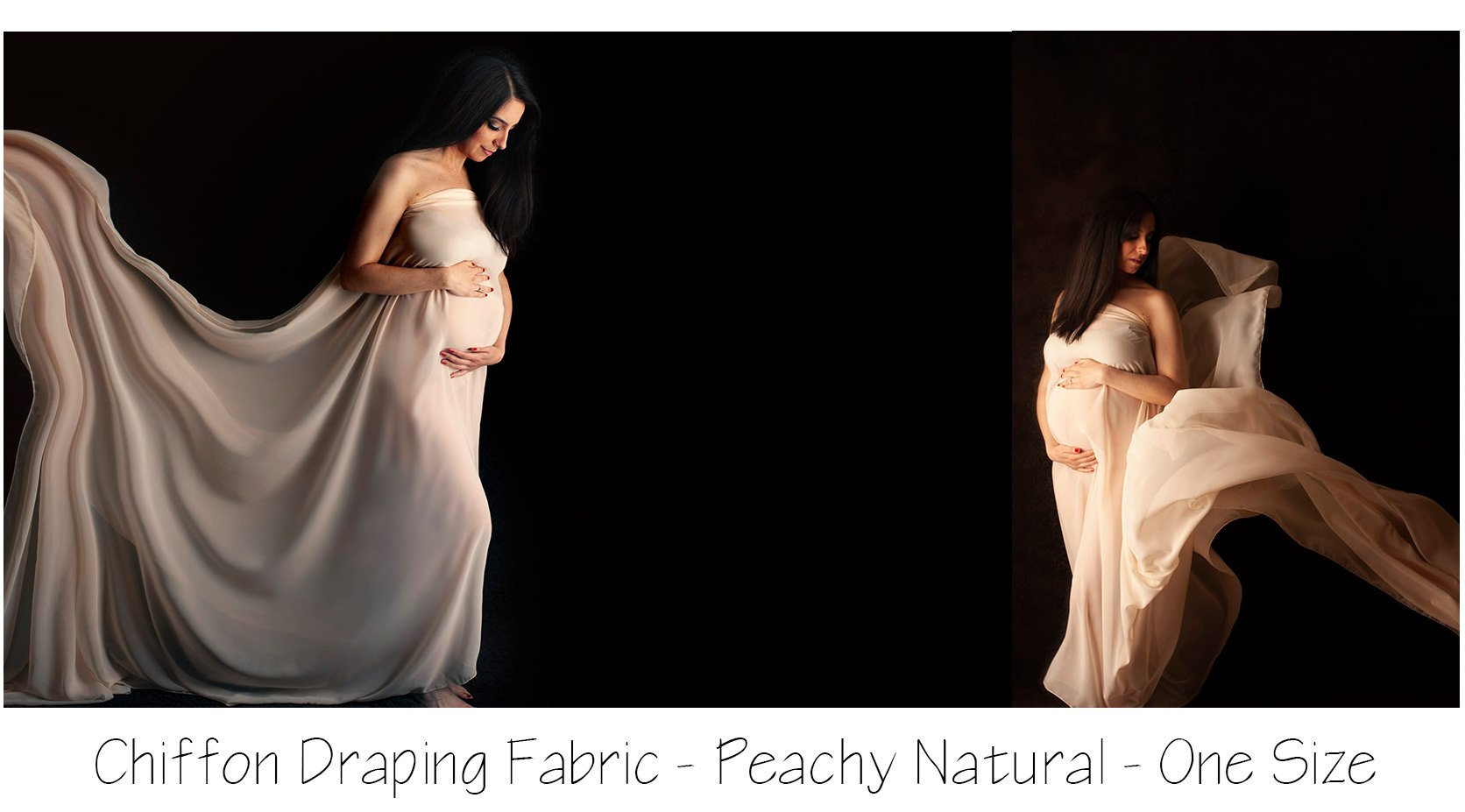Maternity Image: pregnant woman posed with flowing chiffon fabric
