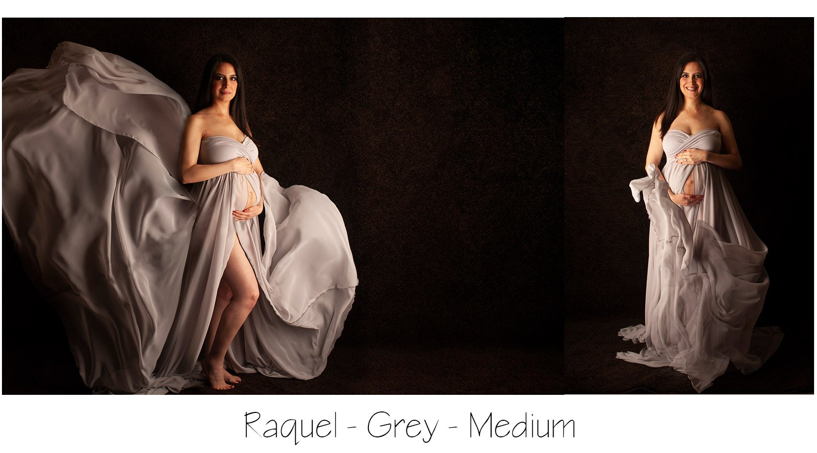 photo of maternity portrait, woman in a grey dress